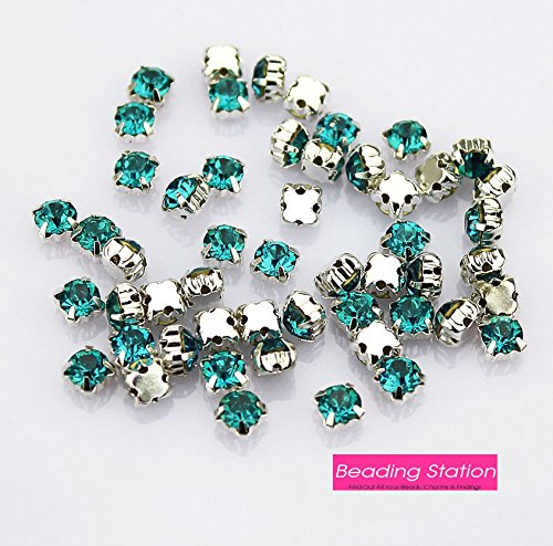 (BSI - Crystal Ringed Sew on Rhinestone Czech Glass with Silver Plated Brass Base Prongs Cup (100 Pcs 4mm Turquoise Blue))