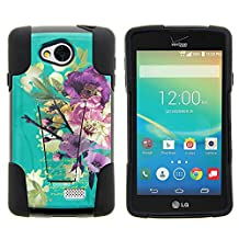 LG Optimus F60 Case, LG Transpyre Case, Full Body Fusion STRIKE Impact Kickstand Case with Exclusive Illustrations for LG Transpyre VS810PP, LG Tribute LS660, LG Optimus F60 (Verizon, Virgin Mobile, MetroPCS) from MINITURTLE | Includes Clear Screen Protector and Stylus Pen - Painted Flowers