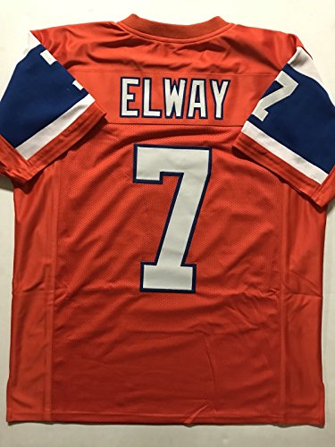 John Memorabilia Denver (Unsigned John Elway Denver Orange Throwback Custom Stitched Football Jersey Size XL New No Brands/Logos)