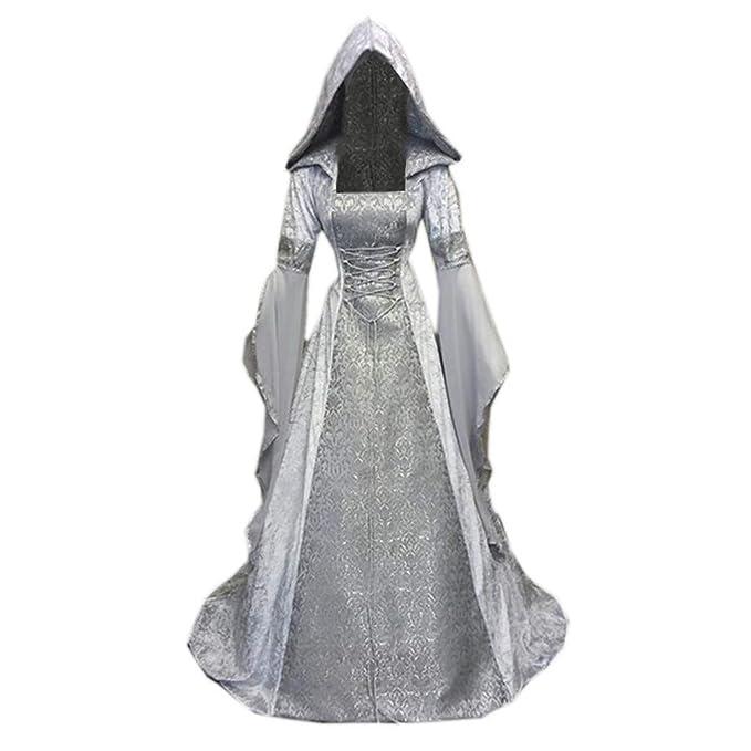 Vestido gótico de Manga Larga con Capucha para Mujer ...
