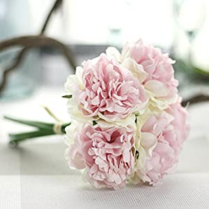YJYdada Artificial Silk Fake Flowers Peony Floral Wedding Bouquet Bridal Hydrangea Decor (A) 9