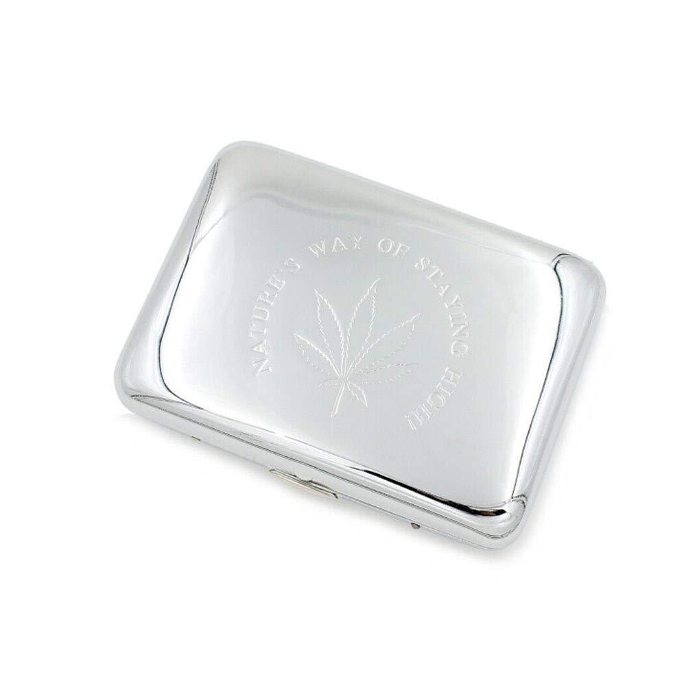 WENPINHUI Cigarette Box, Metal Cigarette Case, Copper 16 Sticks Cigarette Box, Moisture-Proof and Anti-Pressure Cigarette Box, Gold/Silver, Ideal Gift for Smokers, (Color : Silver) by WENPINHUI