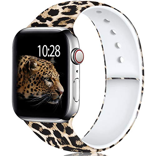 Laffav Compatible with Apple Watch Band 40mm 38mm iWatch Series 5 4 3 2 1 for Women Men, Classic Leopard Print, S/M
