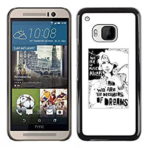 Paccase / SLIM PC / Aliminium Casa Carcasa Funda Case Cover para - Dreamer Deep Meaning Metaphor White - HTC One M9