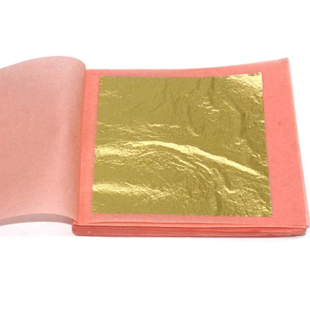 1Set (4.33x4.33CM) Edible Gold Leaf Sheets Pure Gold Foil Luxury Gold Leaf Sheets for Cocktail Cake Baking Ice Cream Food Decoration Makeup Gilding Decoration Skin Care Health Spa (10 Sheets)