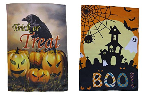 ALBATROS 12 inch x 18 inch Happy Halloween #16 Vertical Sleeve Flag for Garden for Home and Parades, Official Party, All Weather Indoors Outdoors]()