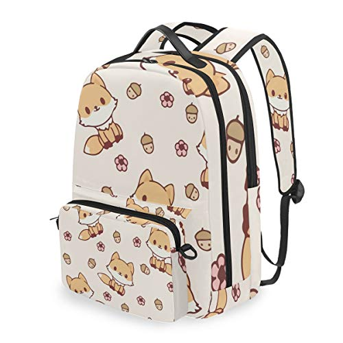 Cute Kawaii Fox Floral 15 Inch Travel Laptop Backpack College School Computer Bags Cross Bag