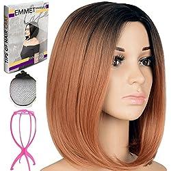 "Emmet Short Bob Wig 12"" Shoulder Length Soft Silk Synthetic Kanekalon Dark Roots Ombre Color Women's Wigs with Free Wig Cap & Wig Stand Holder & Ebook (Black & BROWN)"