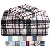 Morgan Home Fashions sábanas de franela de algodón turco 100% algodón cepillado para mayor comodidad – bolsillos profundos – cálido y acogedor, ideal para todas las estaciones, Blanco (White Plaid), Queen
