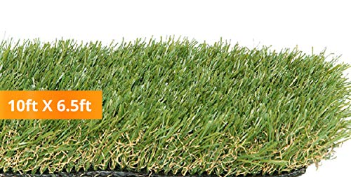 PZG Premium Artificial Grass Patch w/ Drainage Holes & Rubber Backing | 4-Tone Realistic Synthetic Grass Mat | 1.6-inch Blade Height |Extra-Heavy & Soft Pet Turf | Lead-Free Fake Grass for Dogs or Outdoor Decor | Size: 10' x 6.5'