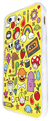 1197 - Kids Drawing Monster Drink Candy Rainbow Cute Design iphone SE - 2016 Coque Fashion Trend Case Coque Protection Cover plastique et métal - Blanc