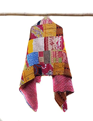 Indian Cotton Kantha Fashion Scarf Reversible Bohemian Handmade Stole Band patchwork