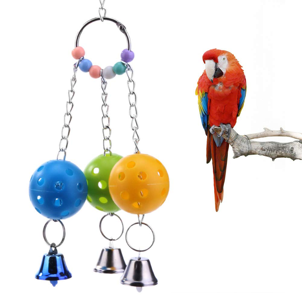 Glumes Bird Chewing Toy, Bird Hanging Bell Toy Pet Parrot Hammock Swing for Conure Cockatoo Macaw African Grey Amazon Budgie Parakeet Cockatiel Lovebird Finch Cage Toys