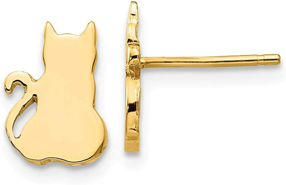 14k Yellow Gold Solid Polished Post Earrings Cat Earrings Jewelry Gifts for Women