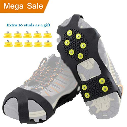 HoFire Ice Cleats, Ice Grips Traction Cleats Grippers Non-Slip Over Shoe/Boot Rubber Spikes Crampons Anti Easy Slip 10 Steel Studs Crampons Slip-on Stretch Footwear (10-Studs-Black, S) ()