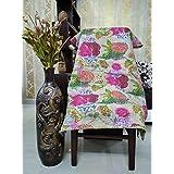 Maniona Crafs Handmade Floral Pattern Beige Home Décor 100% Cotton Quilt Kantha Reverssible Bedspread Queen Size Stitch Gudri 90X108 Inches
