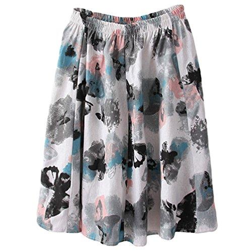 Encre Jupe Line Casual Elastique Style Jupe Courte Boheme Ete Papillon Littrature Fleur Fluide Art Taille Lin A Retro Femme Et YuanDian Imprimee Mini Loose nqOwZBO