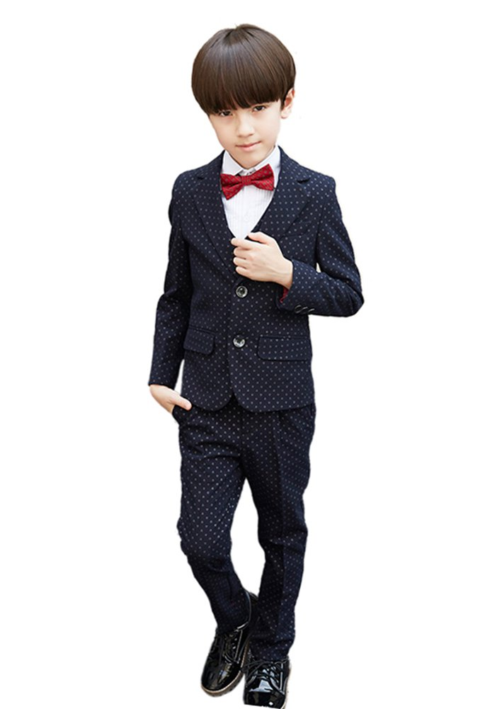 SK Studio Boys' 5 Pieces Slim Fit Point Formal Dress Wedding Suits Black by SK Studio