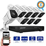 Security Camera System,SMONET 8CH Full 1080P Video Security System with 2TB HDD(AHD DVR Kits), 8PCS 1080P Outdoor/Indoor Bullet Cameras,Night Vision,P2P,Free APP,Easy Remote Review,Motion Alert