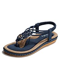 Socofy Women Summer Flat Slip On Clip Toe Sandals T-Strap Elastic Open Toe Flip Flop Beach Boho Shoes
