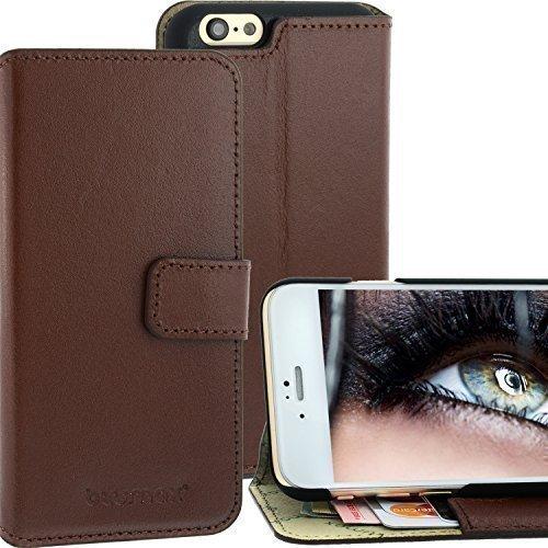 Wallet Case Ledertasche für Apple iPhone 6 Braun mit Magnetschnalle mit Fächern für sämtliche Visitenkarten/ Kreditkarten im Bookstyle von Blumax Echt Leder
