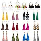 15 Pairs Tassel Earrings Colorful Layered Tassel Earrings Bohemian Dangle Earrings for Women Girls Valentine Birthday Party Gifts