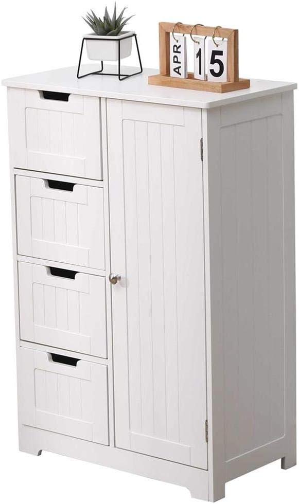 Etnicart - Mueble con cajonera ahorra espacio - Color blanco - Ideal para el baño, la cocina, hall de entrada o para el living - 4 cajones, 1 puerta de madera - Medidas55 x 30 x 81 cm