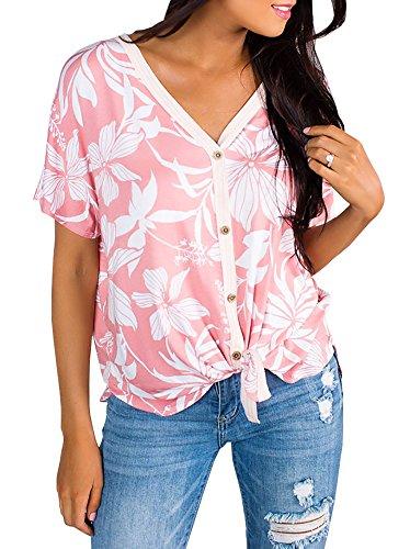 Womens Tropical Button Up Front Tie Shirt Summer Hawaiian V Neck Short Sleeve Tops