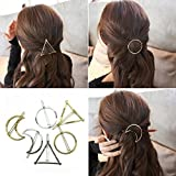 6pcs Gold Silver Geometric Hair Clip Hairpin Clamps Barrette Bobby Pin Styling Accessories,Hollow Infinity Triangle Round Oval Moon (6 Pcs)