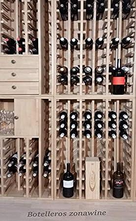 ZonaWine - Modulo Botellero en Madera de Pino o Roble para 30 Botellas. Fabricado en España Mide : 105/35/32 cm Fondo - Pino Tintado en Roble
