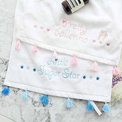 Upper-Princesa Rosa bordado toalla algodón toalla letra pequeña toalla borla artesanal,70*