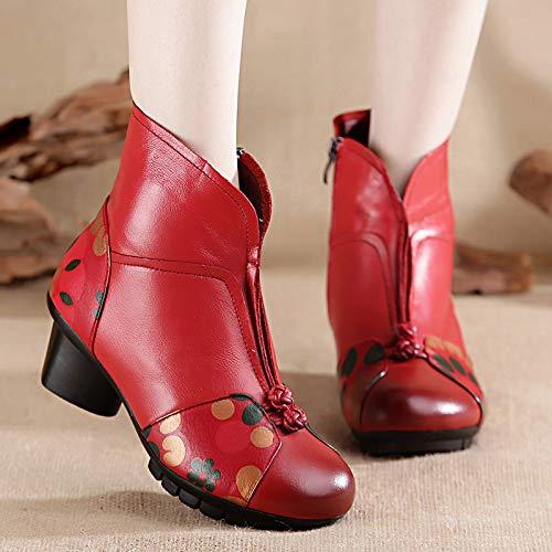 De Mediana Red Madre Caballero Edad Retro Mujer Invierno Botas Calientan Zapatos d1YBwdq