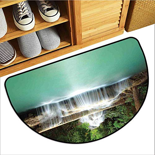 TableCovers&Home Low-Profile Mat, Waterfall Doormats for High Traffic Areas, Falling Stream Waterfall Natural Pond Thailand Vacation Theme Print (Almond Green Brown White, H16 x D24 Semicircle)