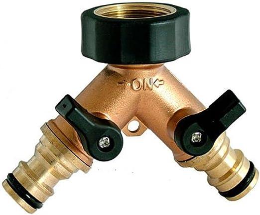 2 Way Double Garden Tap Adapter Connector Adaptor Hose Pipe Splitter Y Type UK