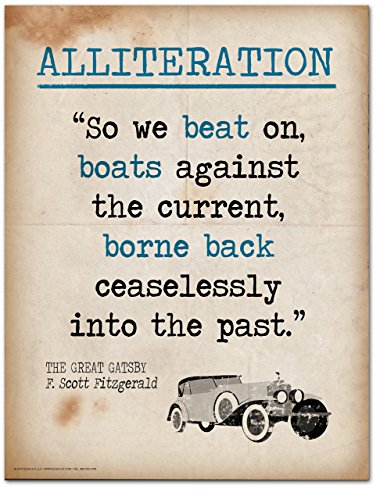 Alliteration Literary Term Mini Poster featuring a quote from The Great Gatsby by F. Scott Fitzgerald. Educational Art Print