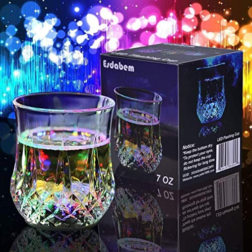 (Esdabem LED Automatic Flashing Cup - with Mug Sensor Light Up, Liquid Activated Color Change, Flashing LED Light Cup for Christmas, Party, Night Clubbing, Birthday,)