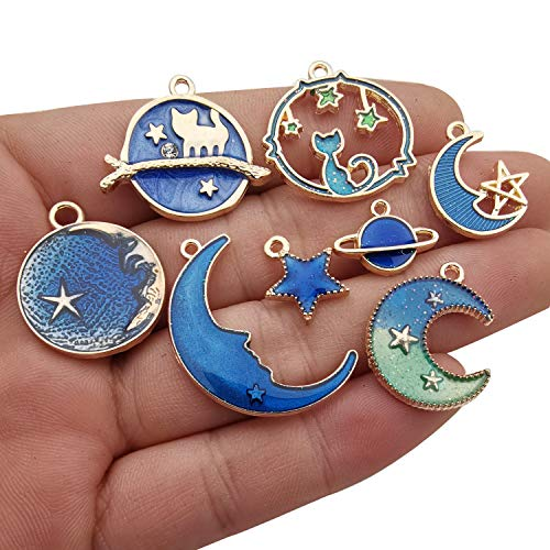 - Youdiyla 39pcs Blue Enamel Moon Star Planet Charms Collection, Mix Metal Pendant Supplies Findings for Jewelry Making (HM275)