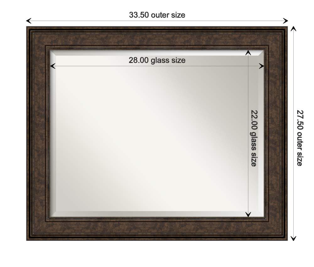 Amanti Art Framed Vanity Mirror   Bathroom Mirrors for Wall   Ridge Bronze Mirror   Wall Mounted Mirror   Medium Mirror   27.50 x 33.50 by Amanti Art