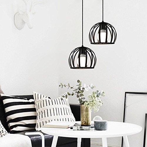 Airetrolight Industrial Rustic Black 1 Light Mini Hanging Pendant Light(Watermelon chandelier)