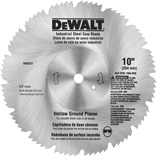 - DEWALT DW3372 10-Inch 80 Tooth Hollow Ground Planer Steel Saw Blade with 5/8-Inch Arbor