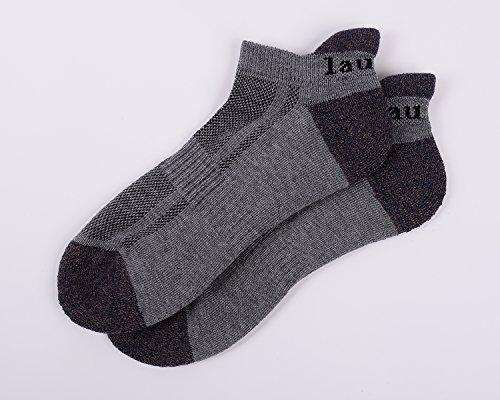 Laulax Coolmax Professional Running Socks Achilles Tendon Protection, Grey, Purple Toe
