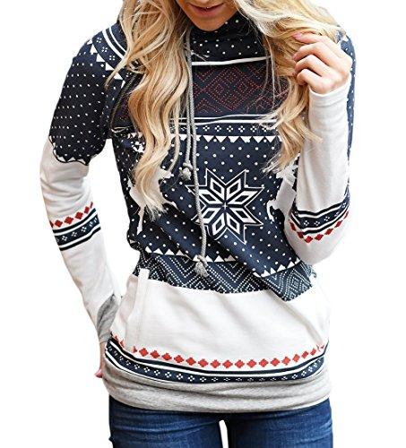 con con Jersey de de impresión de Navidad de Jersey Jersey Suéter de de Mujer Punto Navidad Redondo Suéter Navidad Cuello de otoño Invierno Sudadera Capucha cálido Capucha de Navy Tops Sudadera Scothen 6wTqBx8