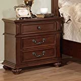Landaluce Transitional Style Antique Dark Oak Finish Bedroom Nightstand