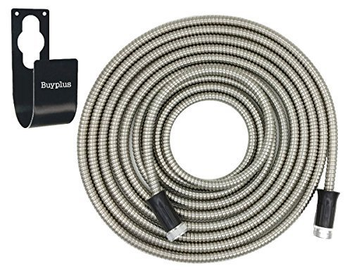 Light Duty Garden Hose (Metal Garden Hose Stainless Steel - with Metal Hook, Rust-Proof, Lightweight, Kink-Free, Stronger Than Ever, Easy to Use (50ft))
