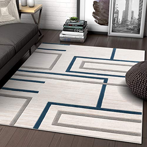 (Well Woven Fiora Blue Modern Geometric Stripes & Boxes Pattern Area Rug 5x7 (5'3