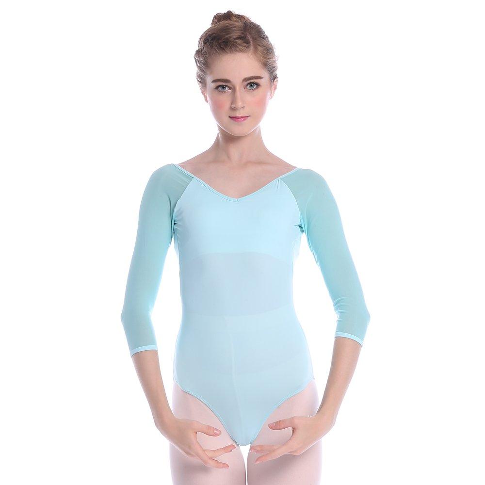 TXJ Damen Mädchen Ballettanzug Turnanzug Ballett Trikot mit 3/4 Kurzarm