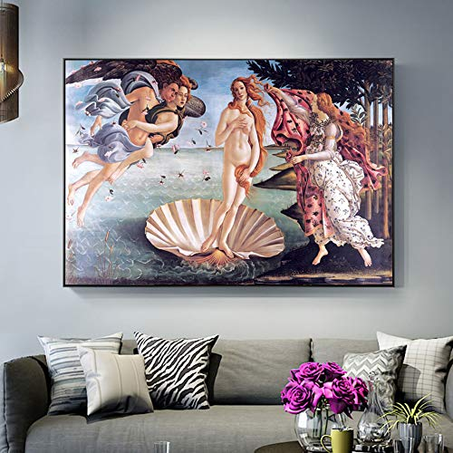 zhuziji DIY Pintar por numeros Nacimiento de Venus Arte de la Pared Pintura Pintura Pintura Pintura clasica Famosa Replica Imagen de la Pared Decoracion del h50x75cm(Sin Marco
