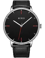 BUREI Unisex Uhr Ultra Thin minimalistischen Kleid Armbanduhren mit großem Zifferblatt Datum Kalender Mineralglas Kalbsleder Lederband
