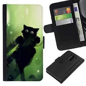 KingStore / Leather Etui en cuir / LG G3 / Negro Ojos verdes del gato caminar sobre el agua Wizzard