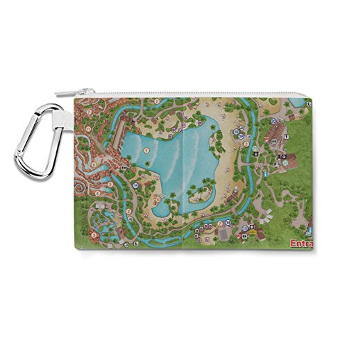 Typhoon Lagoon Map Canvas Zip Pouch - XL Canvas Pouch 12x9 inch - Multi Purpose Pencil Case Bag in 6 - Typhoon Lagoon Of Map